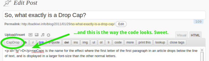 This shows the CapDrop quicktag and the capdrop code.